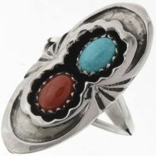 Natural Turquoise Coral Silver Ring Ladies Navajo Pointer Style