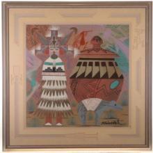 Navajo Kachina Sandpainting By Indian Keith Silversmith