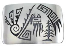 Hopi Red Bearded Kachina Water Wave G. Phillips Belt Buckle