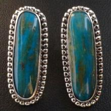 Blue Peruvian Opal Earrings - Artist: Randy-and-Etta-Endito