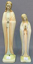 TWO COLORED HUMMEL MADONNA FIGURINES