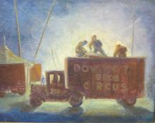 OIL ON CANVAS PAINTING - DOWNIE BROS. CIRCUS WAGON