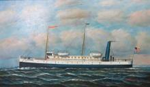 D. TAYLER OIL PAINTING OF THE STEAMBOAT