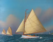 JEROME HOWES OIL PAINTING OF CATBOATS