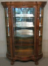 PAINE'S FURNITURE CO. CARVED OAK CHINA CLOSET