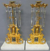PAIR OF GILT BRONZE GIRANDOLE CANDLESTICKS