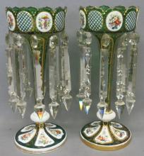 PAIR OF BOHEMIAN OVERLAY GLASS MANTLE LUSTRES