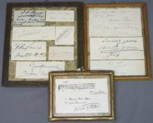 SET OF THREE FRAMED AUTOGRAPH CARDS