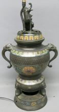 EXCEPTIONAL 19TH C. CHINESE BRONZE CHAMPLEVE URN