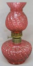 SMALL CRANBERRY GLASS 'BEADED SWIRL' FLUID LAMP