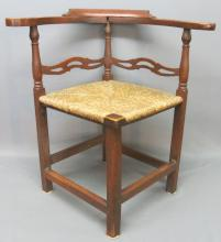 EARLY RUSH SEAT 'ROUNDABOUT' CHAIR IN OLD RED WASH