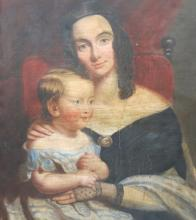 19TH C. OIL PORTRAIT OF MOTHER AND CHILD