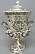 SAMUEL HENNELL SILVER COVERED 2-HANDLED URN