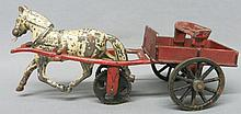 CAST IRON TOY HORSE AND WAGON