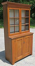 PINE STEPBACK CUPBOARD WITH 2 GLASS DOORS