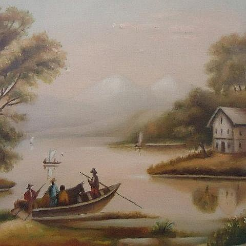 PRIMITIVE OIL ON CANVAS OF A LAKE SCENE UNSIGNED