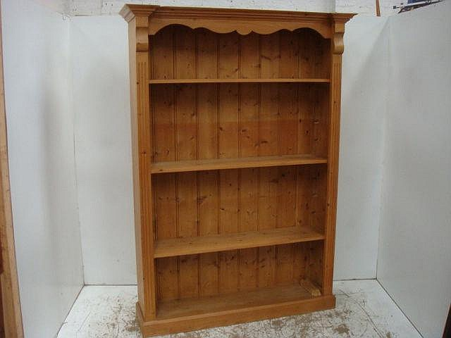 Tall Pine Open Bookcase with Cornice Top