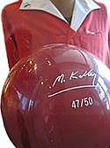 Bowling ball engraved with signature and edition number; Shirt embroidered