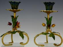 Italian Floral Decorated Candlesticks