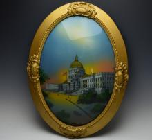 Reverse Painting on Glass of Capitol Building