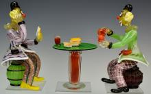 Murano Glass Sculpture of Clowns Playing Cards