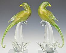 Murano Art Glass Long Tail Swallow Bird Sculptures