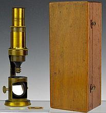 Antique Cased Brass Field Microscope