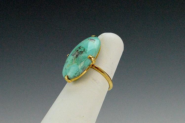 18k YG Turquoise Ring