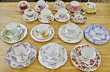 Porcelain Tea Cup Saucer and Underplate Grouping