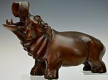 Bronze Tones Metal Statue, Hippopotamus