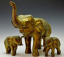 Three Piece Brass Decorative Elephant Grouping