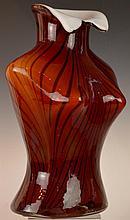 Red Glass Female Bust Vase
