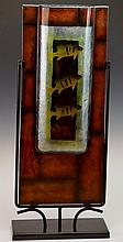 Fish Art Glass Design with Black Metal Base