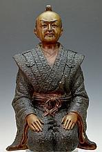 Kneeling Japanese Samurai Statue, Spelter