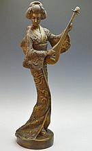 Japanese Geisha With Lute Statue