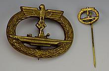 German WWII U-Boat War Badge and Pin