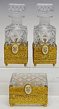 Gilt Pressed Glass Dresser Set