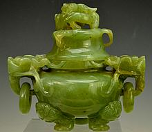 Chinese Carved Green Jade Censer