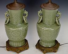 Celadon Vase Lamp Grouping