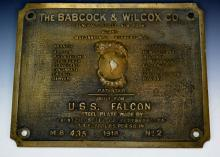 USS Falcon Bronze Plaque circa 1918