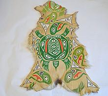Northwest Coast Style Painted Deer Hide