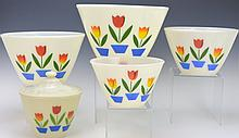 Fire King Tulip Mixing Bowl Set