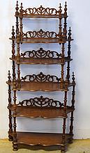 Victorian Walnut Etegere or What Not Shelf