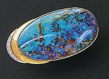 Opulente Opal-Brillant-Anhängerbrosche?2. H. 20. Jh.?Ovaler Boulder-Opal vo