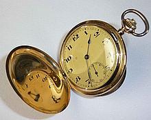 Herrensavonette?Um 1900?Rundes Dreideckelgehäuse, goldfarbenes Zifferblatt