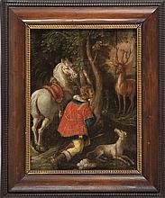 Die Bekehrung des heiligen Hubertus?Flandern, 18. Jh.?Öl/Eichenholz. 38 x 2