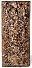 Herakles und Antaois?17. Jh.?Rechteckige, geschnitzte Darstellung im Hochre