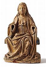 Thronende Maria?Flandern od. Niederrhein, um 1500?Auf einem Schemel sitzend
