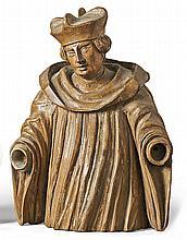 Kanoniker?17. Jh.?Geschnitzte Halbfigur im faltenreichen Chormantel mit nac