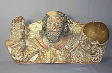 Christusbüste als Salvator Mundi?18. Jh.?Plastisch geschnitztes, rückseitig